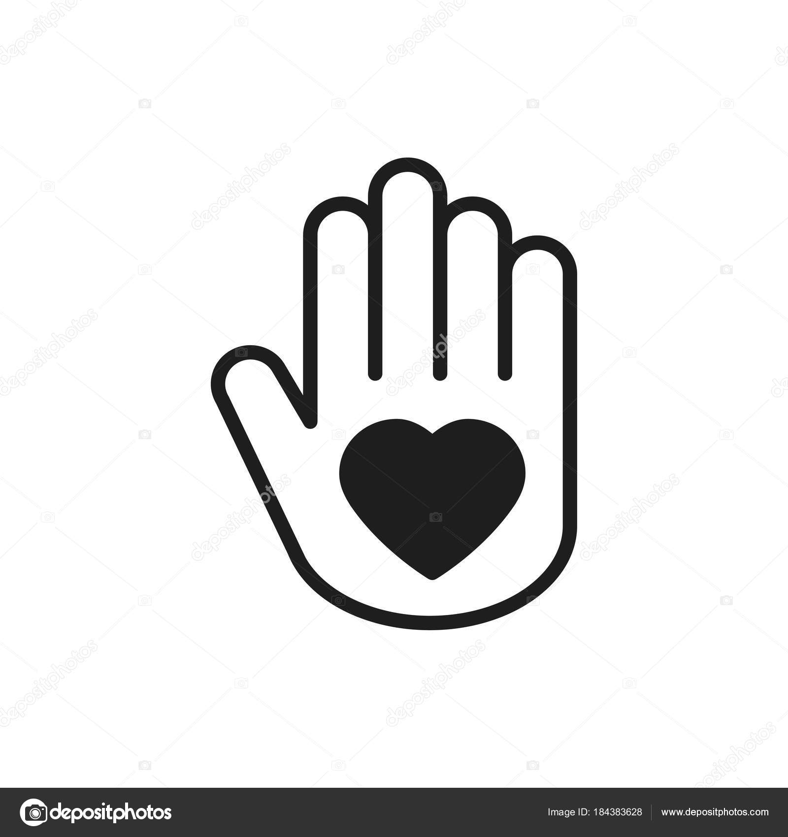 Hand with heart line icon love relationship peace charity hand with heart line icon love relationship peace charity volunteer help care protection support theme peace sign and symbol vector by krolja biocorpaavc