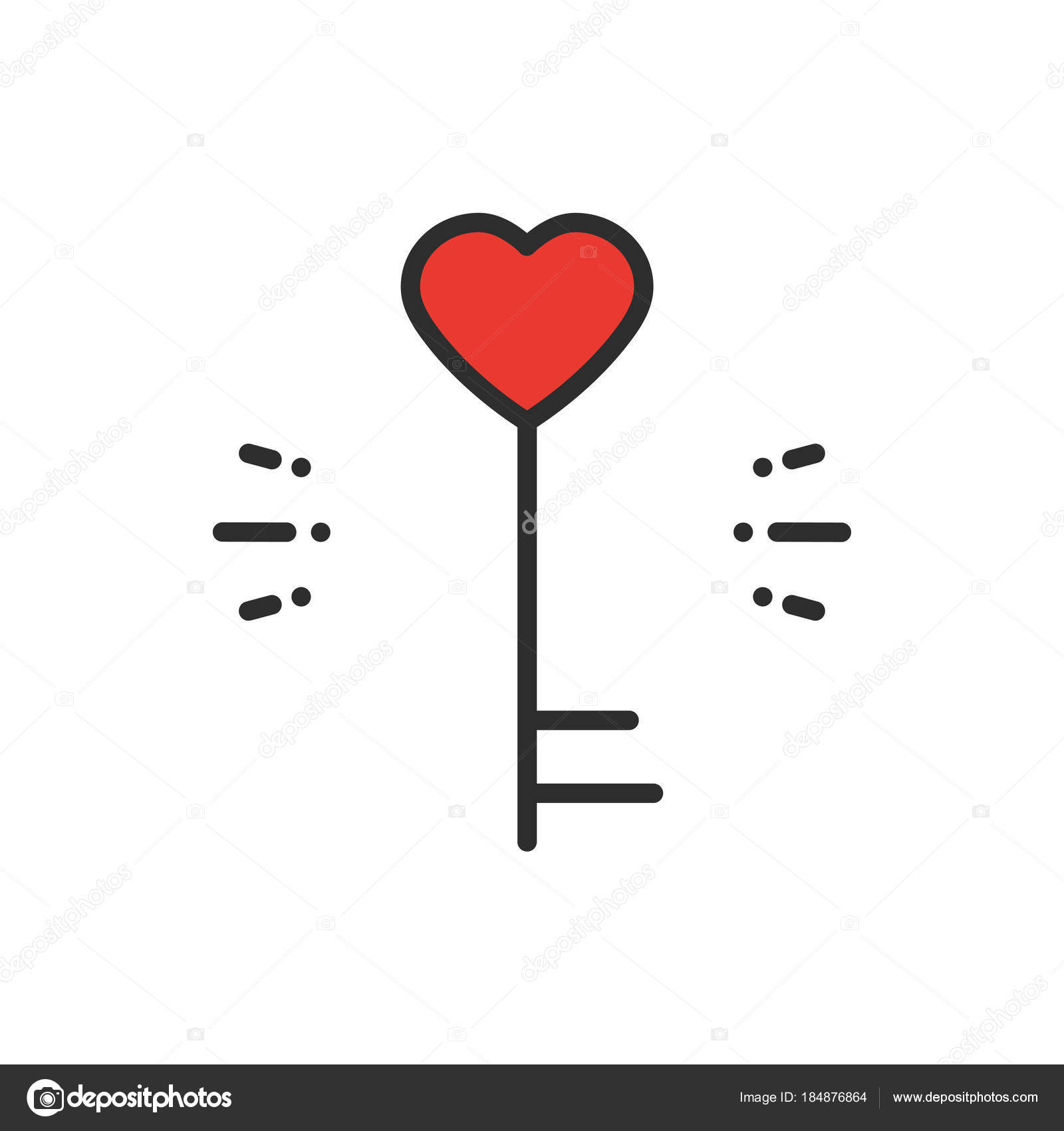 Key Line Icon Heart Shape Happy Valentine Day Sign And Symbol