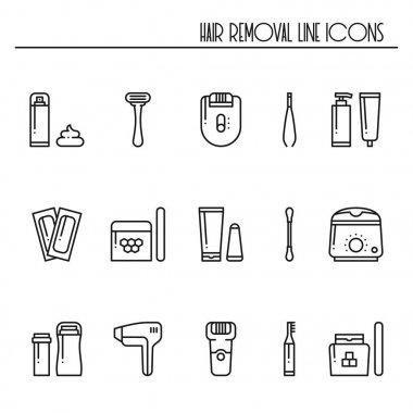 Hair removal methods line icons set. Shaving shugaring laser waxing epilation depilation tweezing.