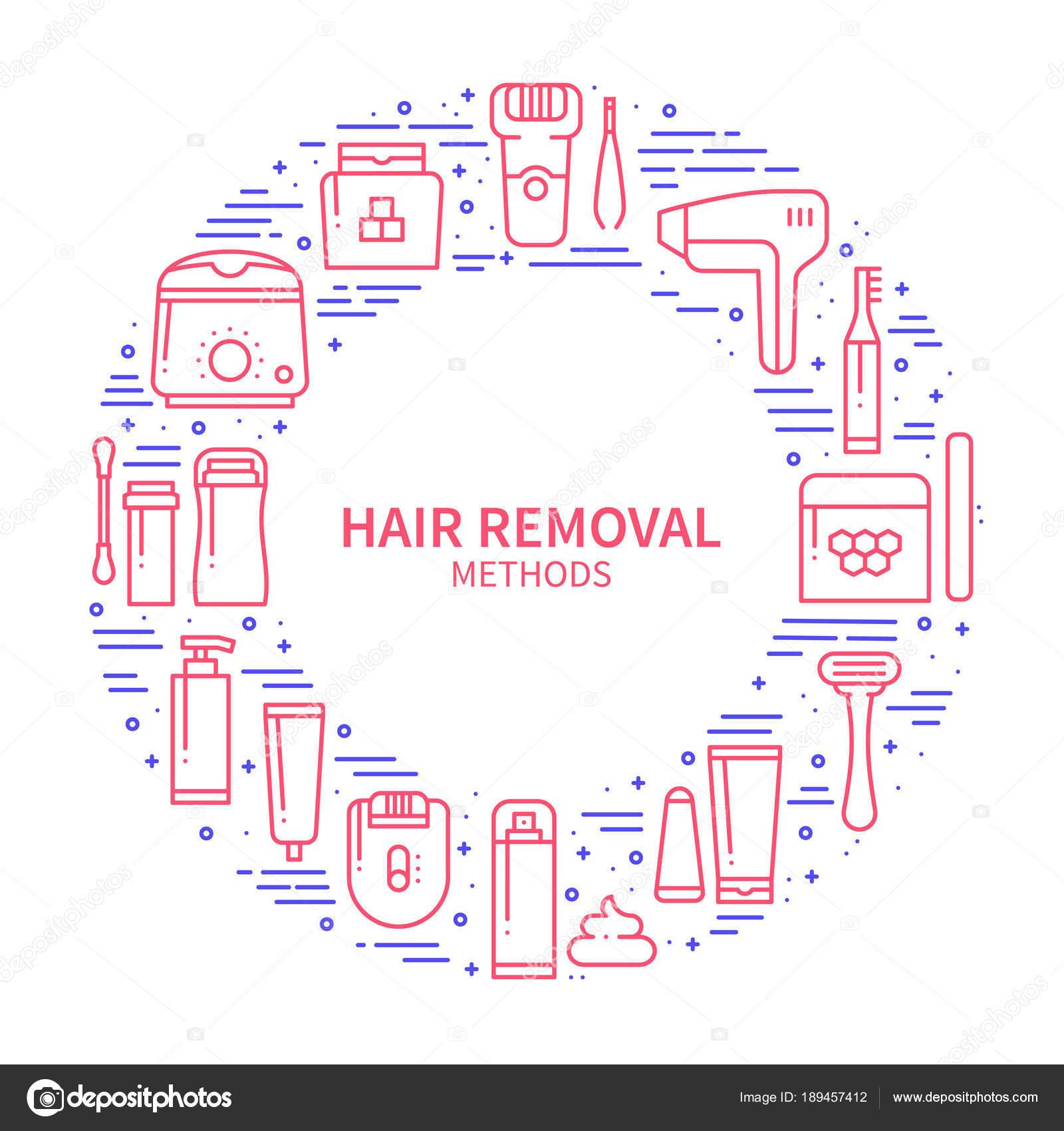 Marco de círculo con símbolos de los métodos de eliminación de pelo ...