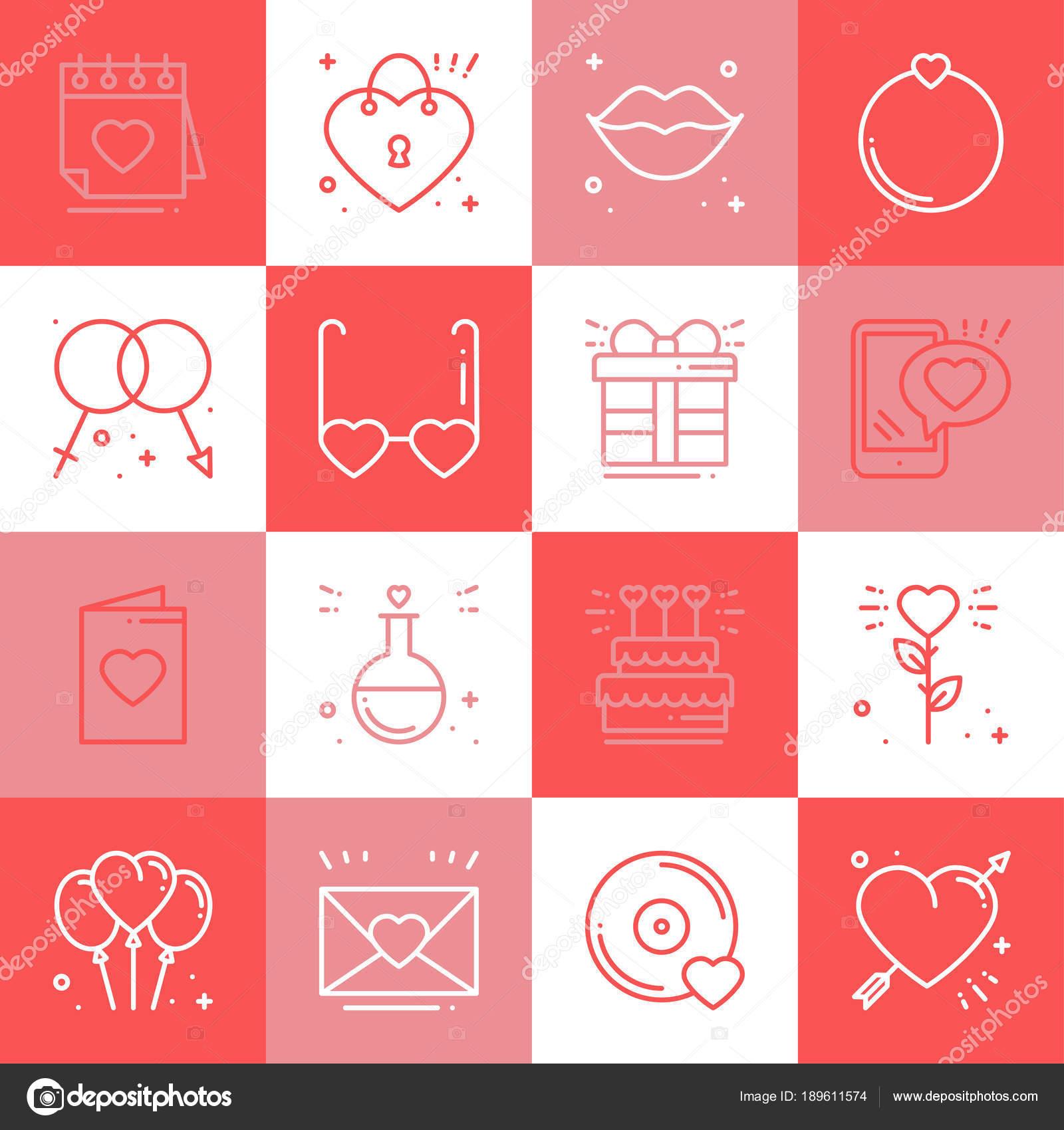 Lieben Sie Zeile Icons Set. Happy Valentine Tag Zeichen und Symbole ...
