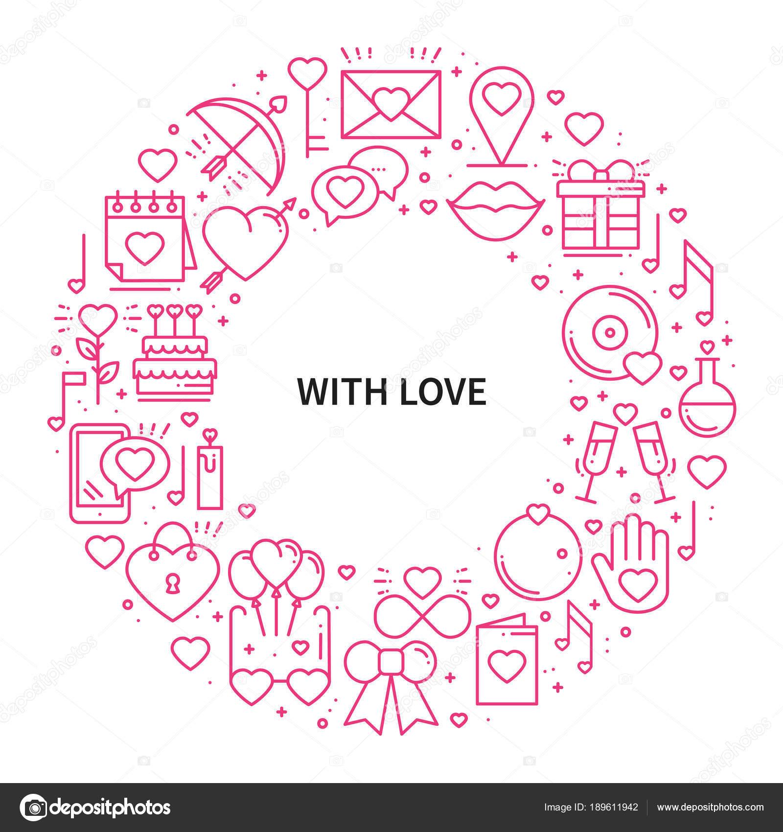 Marco de círculo con símbolos de amor en estilo de línea. Amor ...