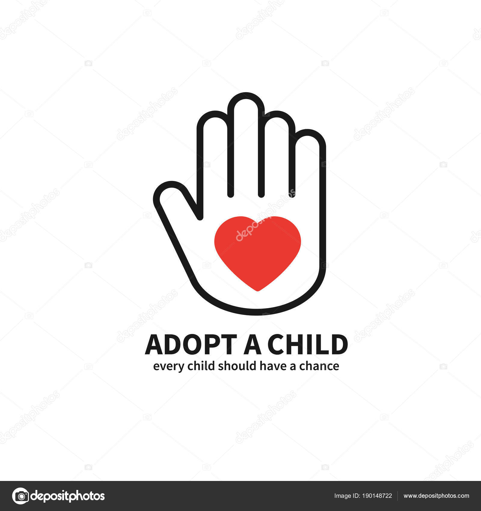 Adopt A Child Hand With Heart Line Icon Volunteer Help Care