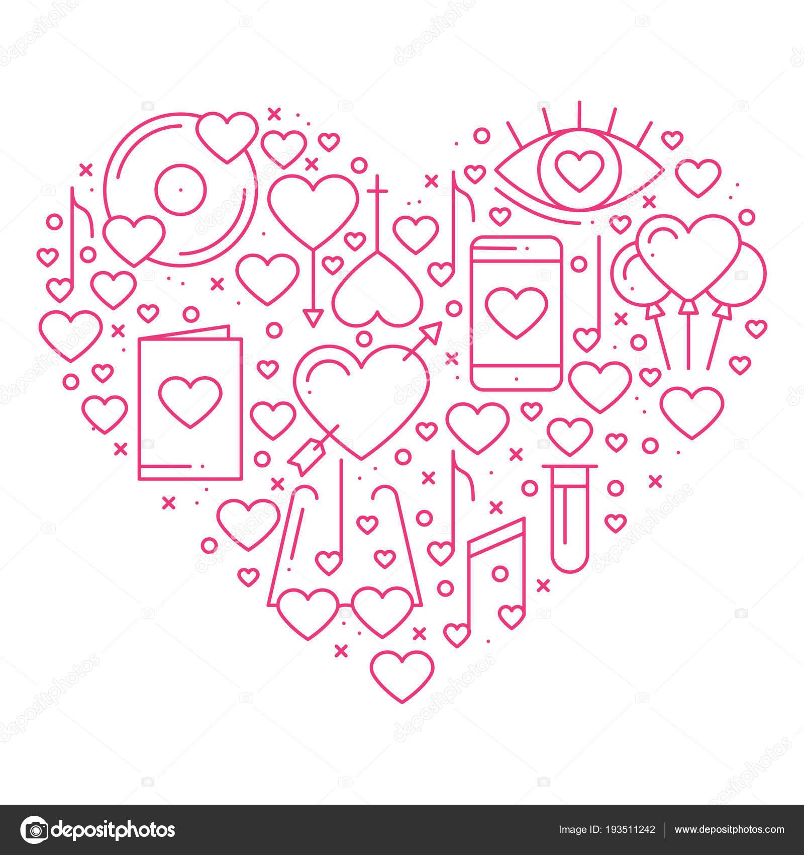 Herz mit Liebe Symbole in Linienart. Liebe aus dem romantischen ...