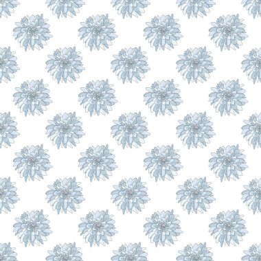 Seamless pattern with white chrysanthemums on the white background. Endless texture for design.