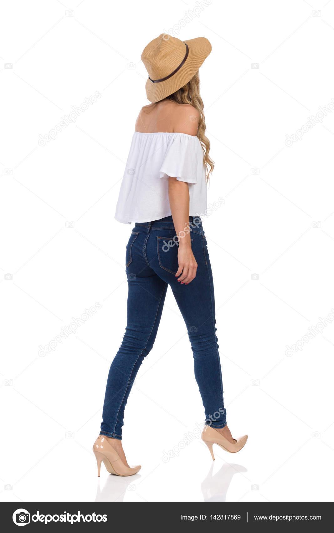 Altos Vista En JeansTacones Del De Y Poca Mujer Posterior Sombrero l13TFKJcu