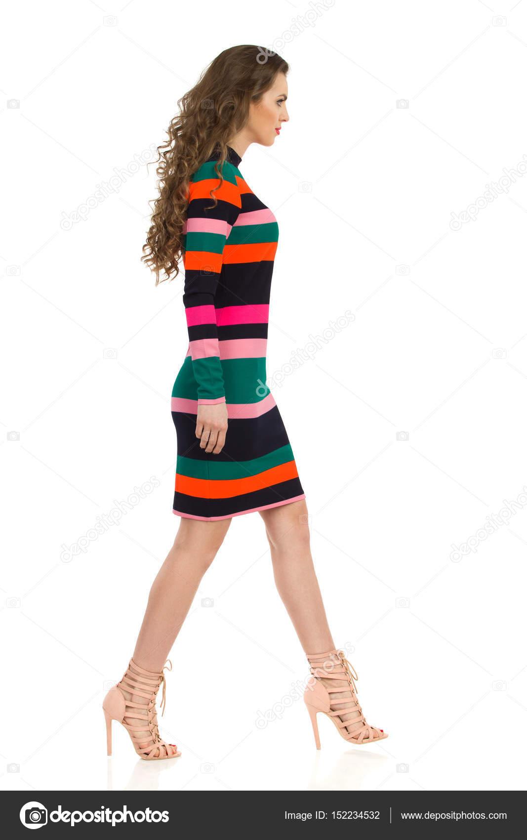 Altos Poca En Mujer Vestido Tacón A Rayas Y Colorida De Zapatos N8Xnwk0POZ