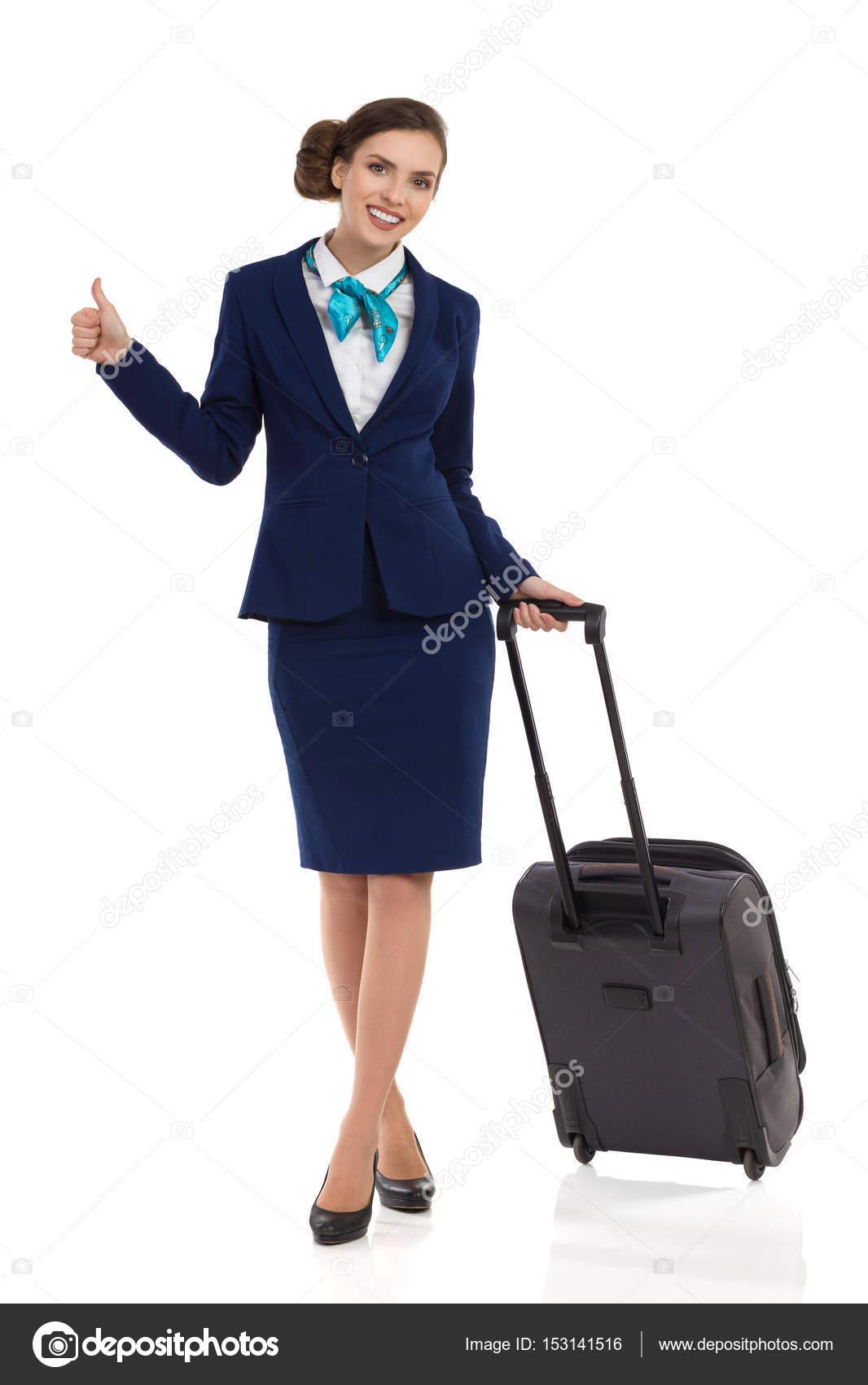 551258807dee Stewardess, táska és hüvelykujj mutatja — Stock Fotó © studioloco ...