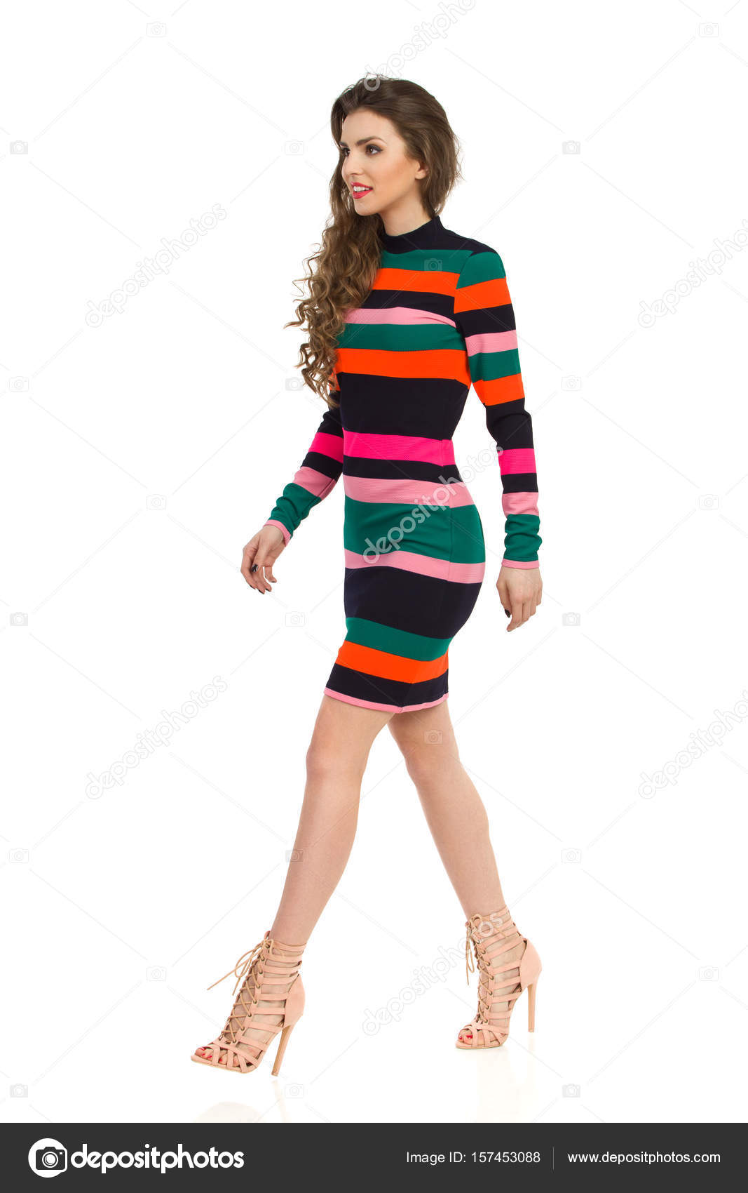 Fashion Model Walking High Heels Beautiful Stock Photo ... |Fashion Model Walking