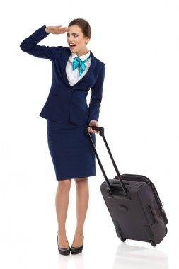 Surprised Stewardes Is Looking Away And Talking