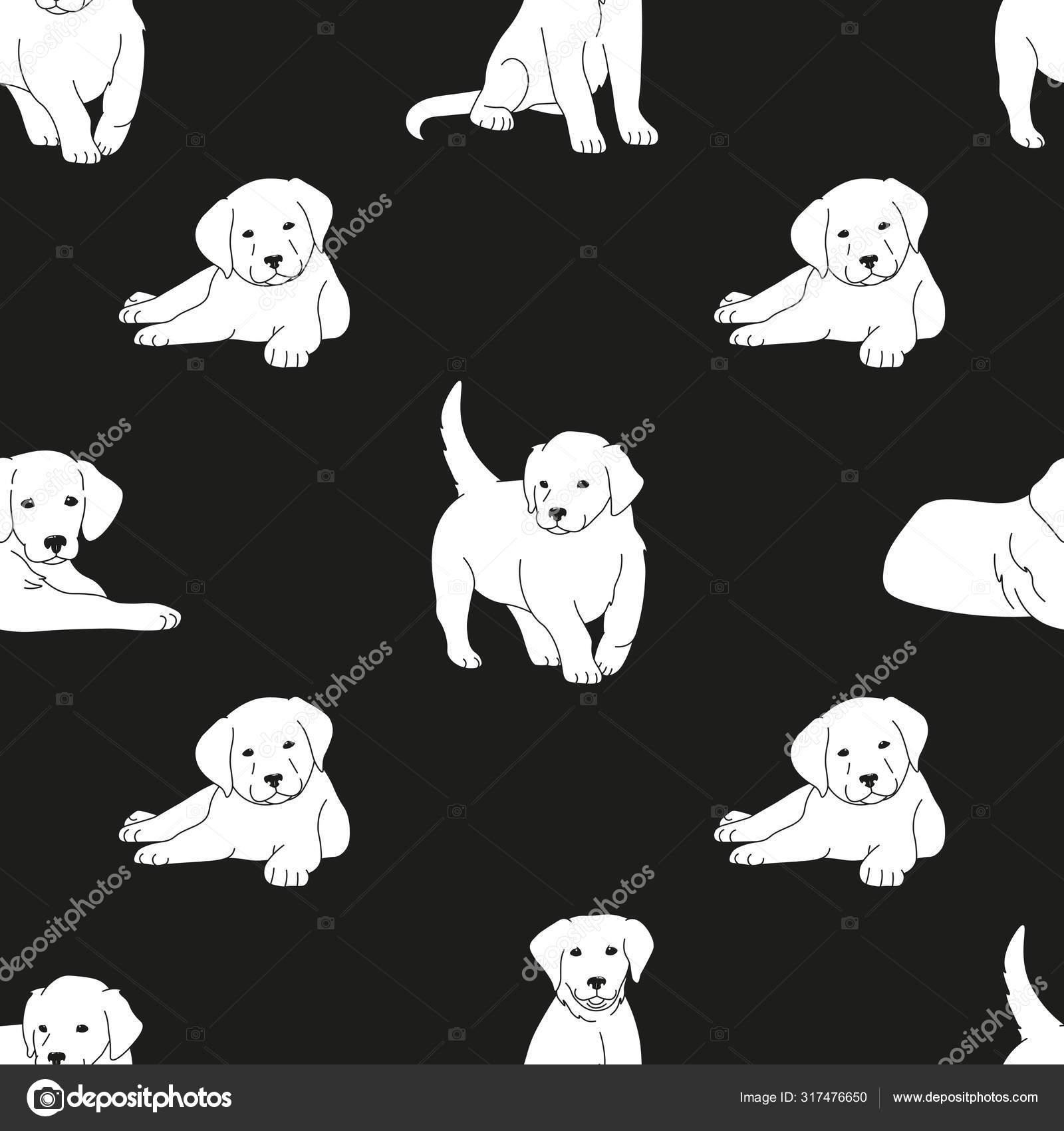 Cute White Puppies Black Thin Lines Silhouettes Black Background Seamless Stock Vector C Yanicorn 317476650