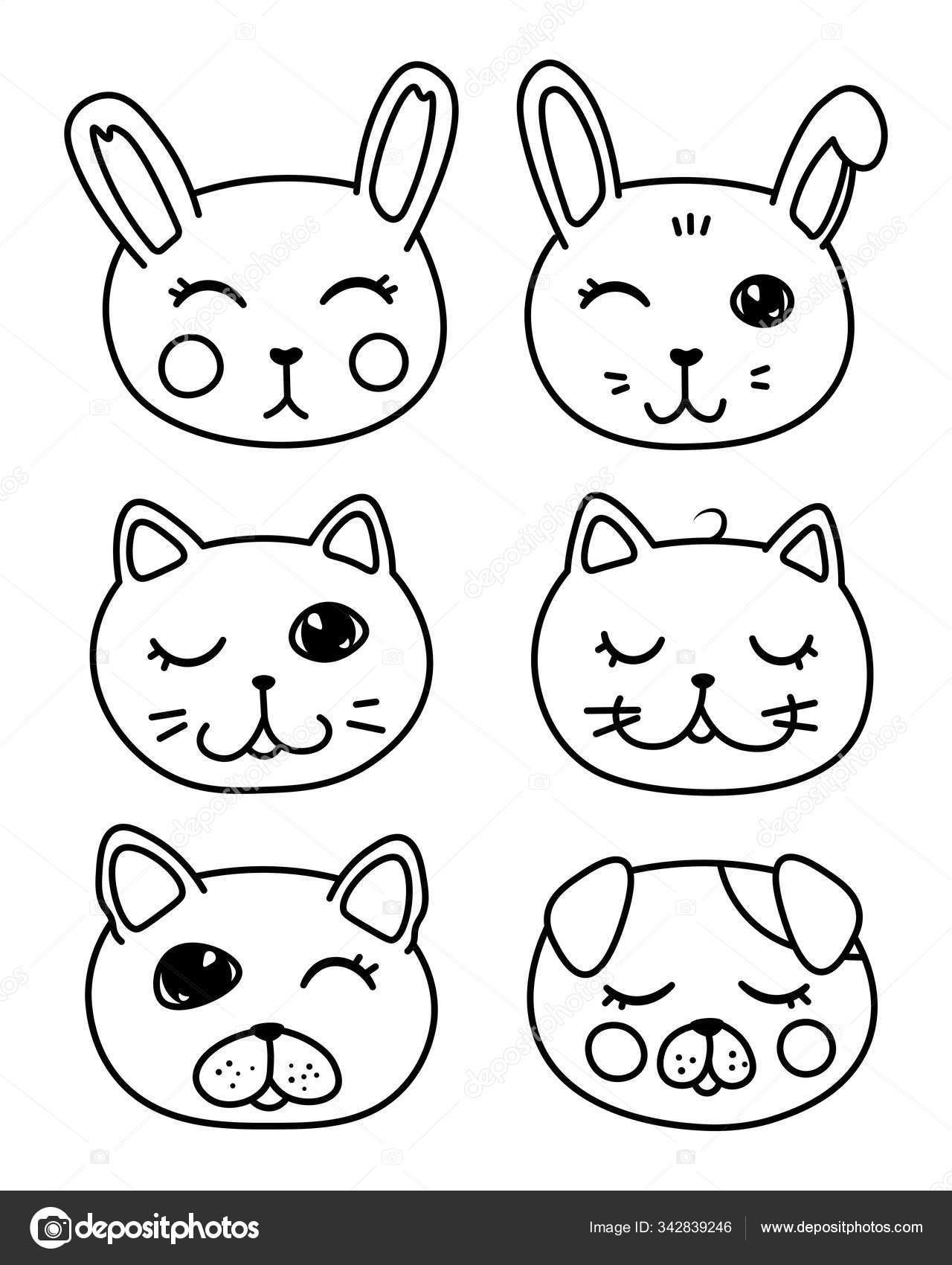 Set Kawaii Doodle Pets Cute Domestic Animals Lovely Cartoon