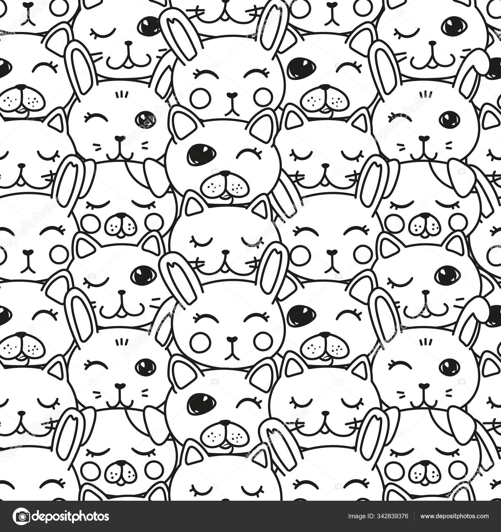 Kawaii Doodle Pets Black White Seamless Cute Domestic Animals Lovely Stock Vector C Yanicorn 342839376