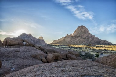 natural landscape with arid area and mountains