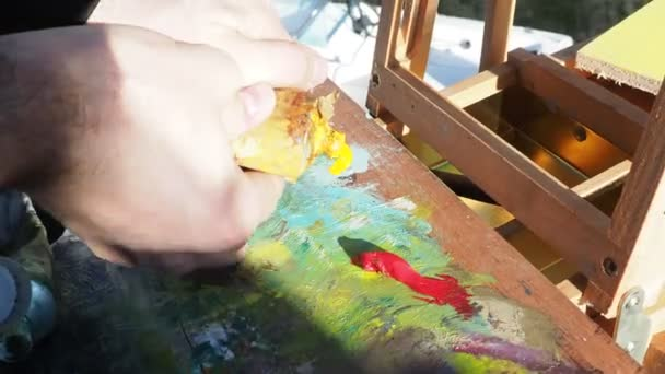 Painters colors palette close-up