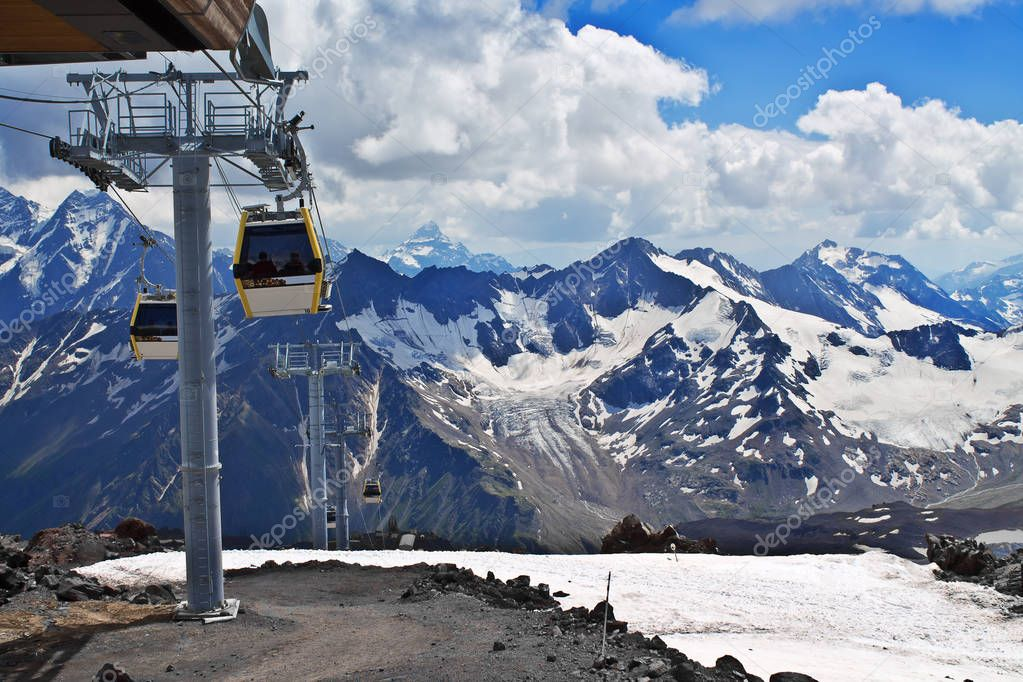 Cable car on the ski resort. Slope on the skiing resort Elbrus.