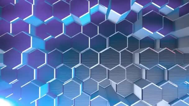 Geometrische Animation Hintergrund mit Sechsecken Abstraktes Blau, die Animation geht nahtlos