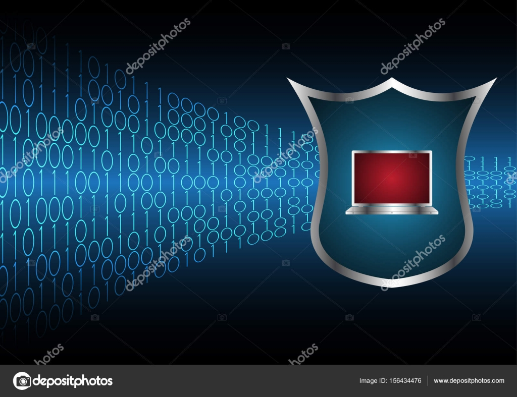 Technology digital future abstract cyber security shield laptop