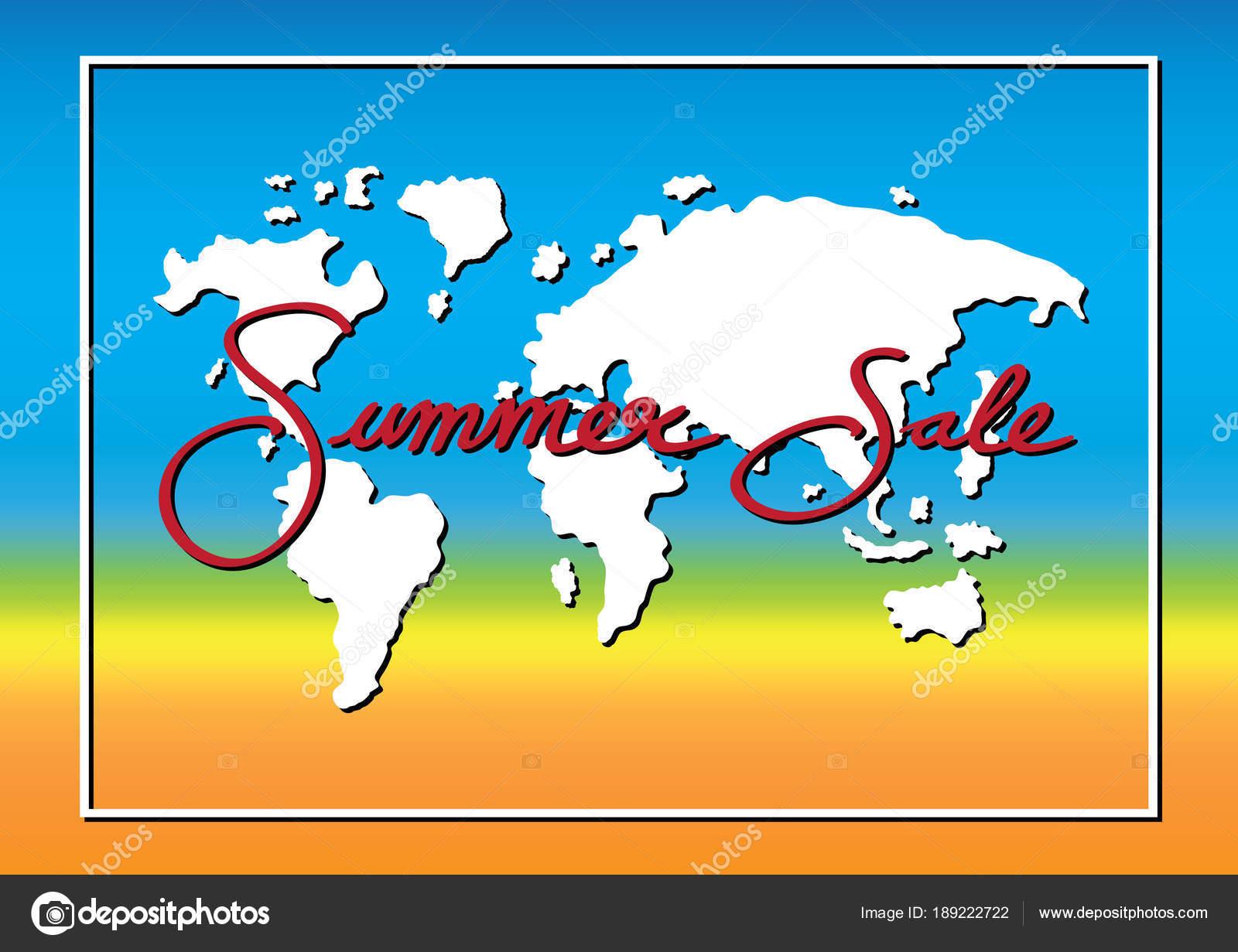 temporada de promoción de venta de verano con mundo mapa y marco de ...