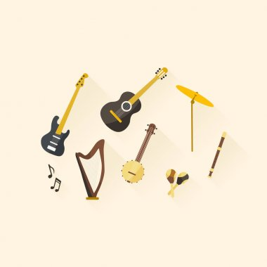 Flat design musical instruments.
