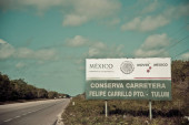 Felipe Carrillo Puerto, Tulum, Riviera Maya / Mexico - Apr 2017 Traffic sigs or road sign are signs erected at the side of or above roads to give instructions or provide information to road users