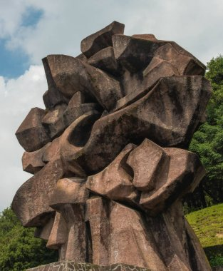 Temoaya, Mexico State,Toluca / Mexico -Sep 08 2018 abstract sculpture at the top of the Ceremonial center of Otomi culture in Mexico