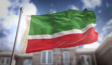 Chechen Republic Flag 3D Rendering on Blue Sky Building Backgrou