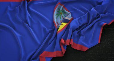 "Картина, постер, плакат, фотообои ""Флаг Гуама морщинами на темном фоне 3d визуализации "", артикул 151903532"
