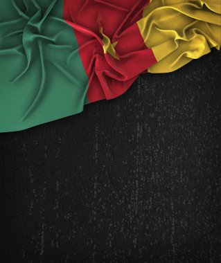 Cameroon Flag Vintage on a Grunge Black Chalkboard With Space Fo