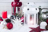 Cristmas Lucerna s dekoracemi a sníh