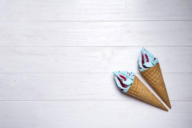 Blue soft ice cream
