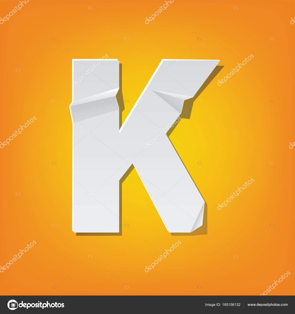 K Capital Letter Fold English Alphabet New Design  Stock Vector