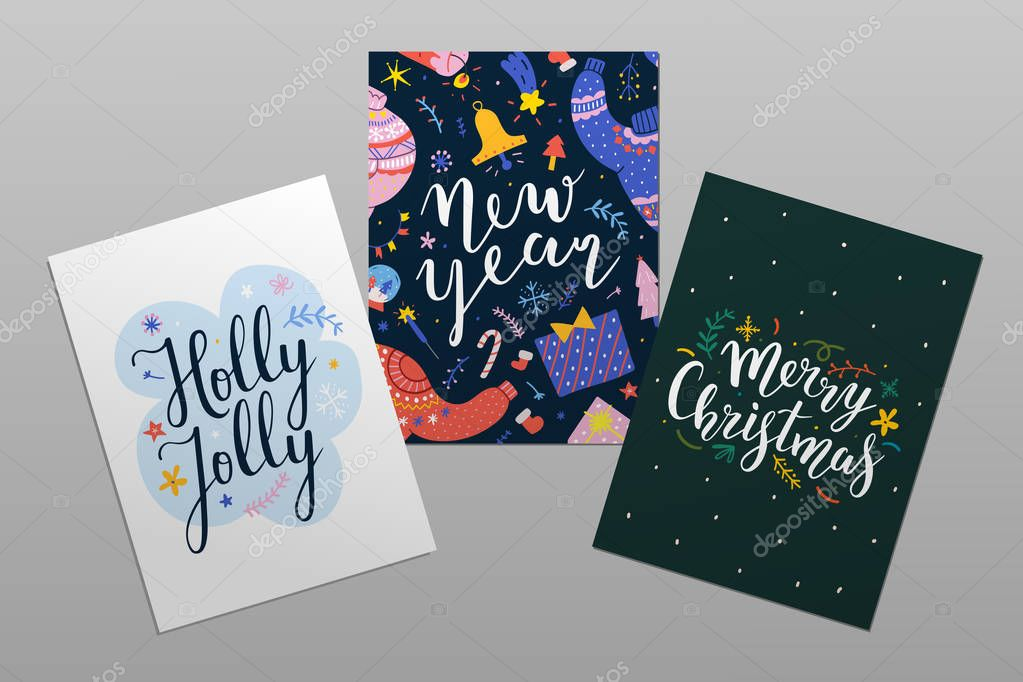 merry christmas and happy new year pre made cards with lettering beautiful calligraphy writing with doodle illustrations abstract design printable postcards with typography posters or banner premium vector in adobe illustrator ai wdrfree