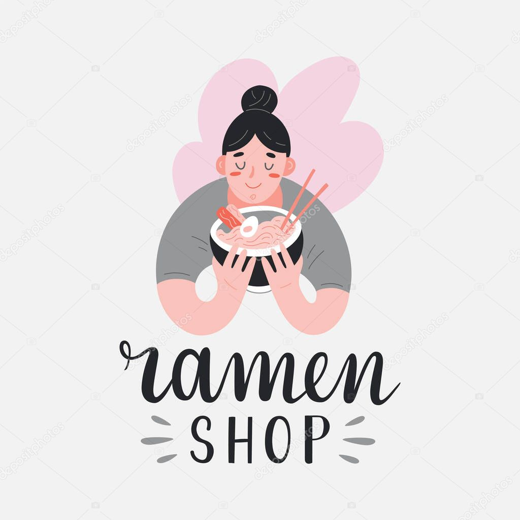 Ramen Shop Logotype With Illustration Of Woman Holding A Bowl Full Of Noodles And Enjoying Her Meal Illustration Logo For Asian Food Cafe Or Restaurant With Japanese Food Modern Lettering Writing