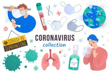 Coronavirus koleksiyonu, bulaşıcı virüs salgını dünya çapında yayıldı, tuhaf covid-19 hastalığı, maskeli insanlar, zatürree belirtileri, karantina işareti, izole vektör çizimleri