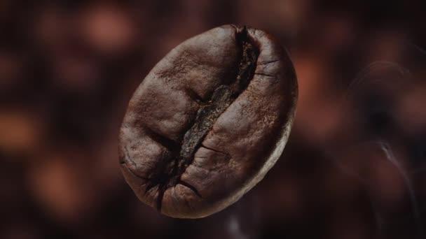 Coffee bean macro shot zoom in. Coffee beans and smoke