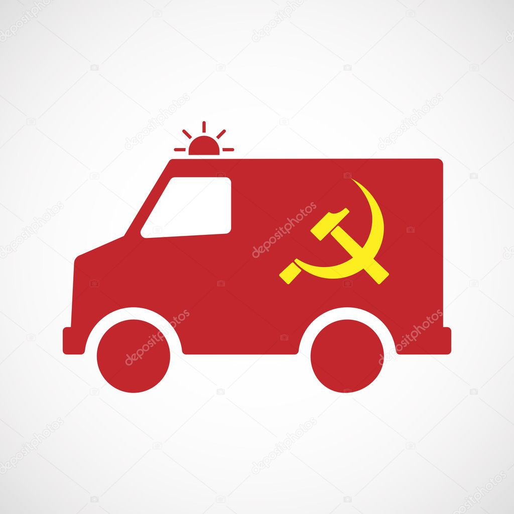 Isolated Ambulance Icon With The Communist Symbol Stock Vector