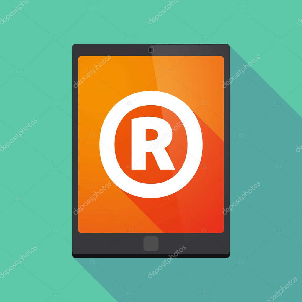 Long Shadow Tablet Pc With The Registered Trademark Symbol Stock