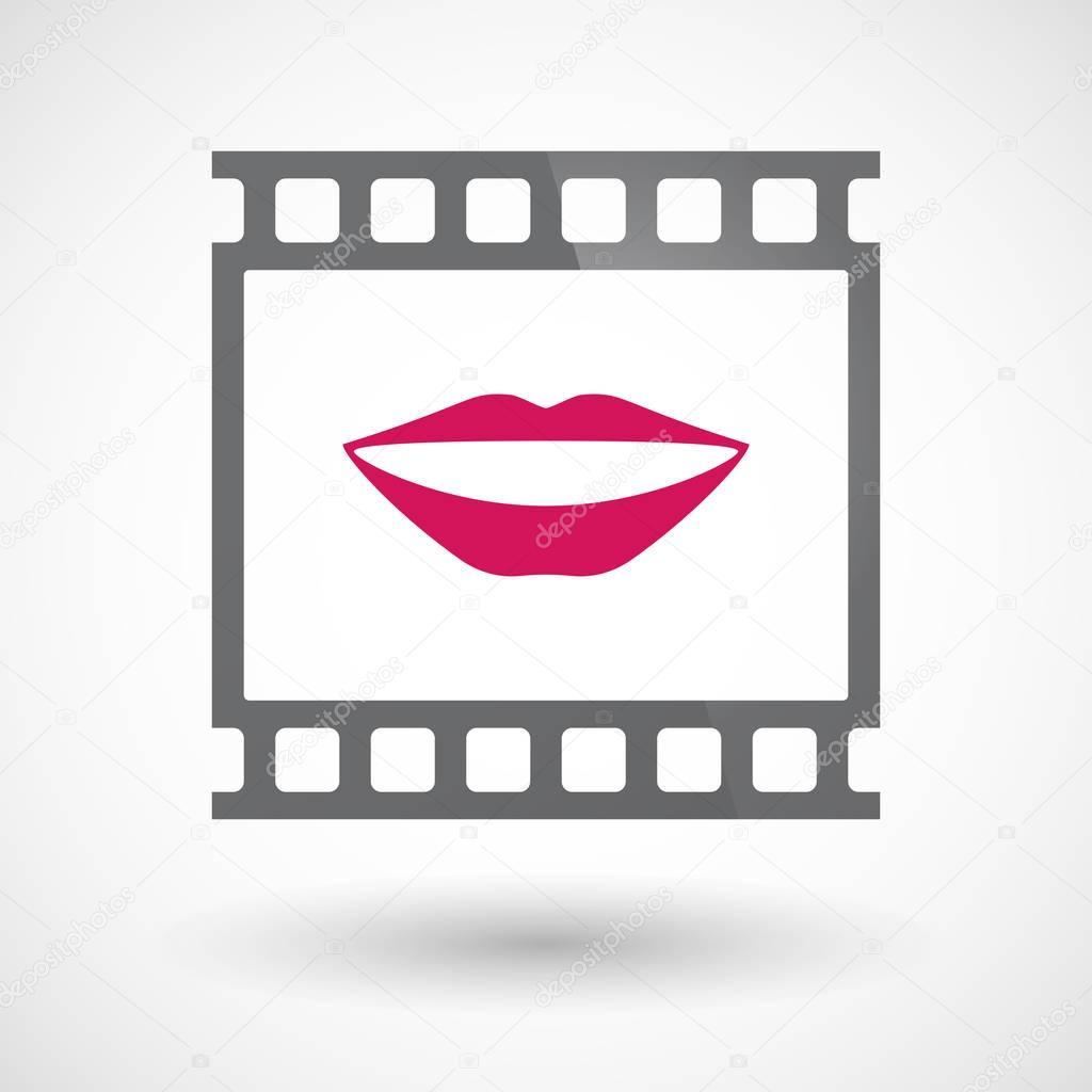 Isolado 35 milímetros filme quadro slide fotograma com uma boca