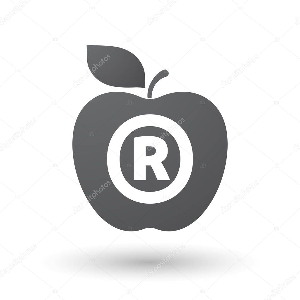 Isolated Apple Fruit With The Registered Trademark Symbol Stock