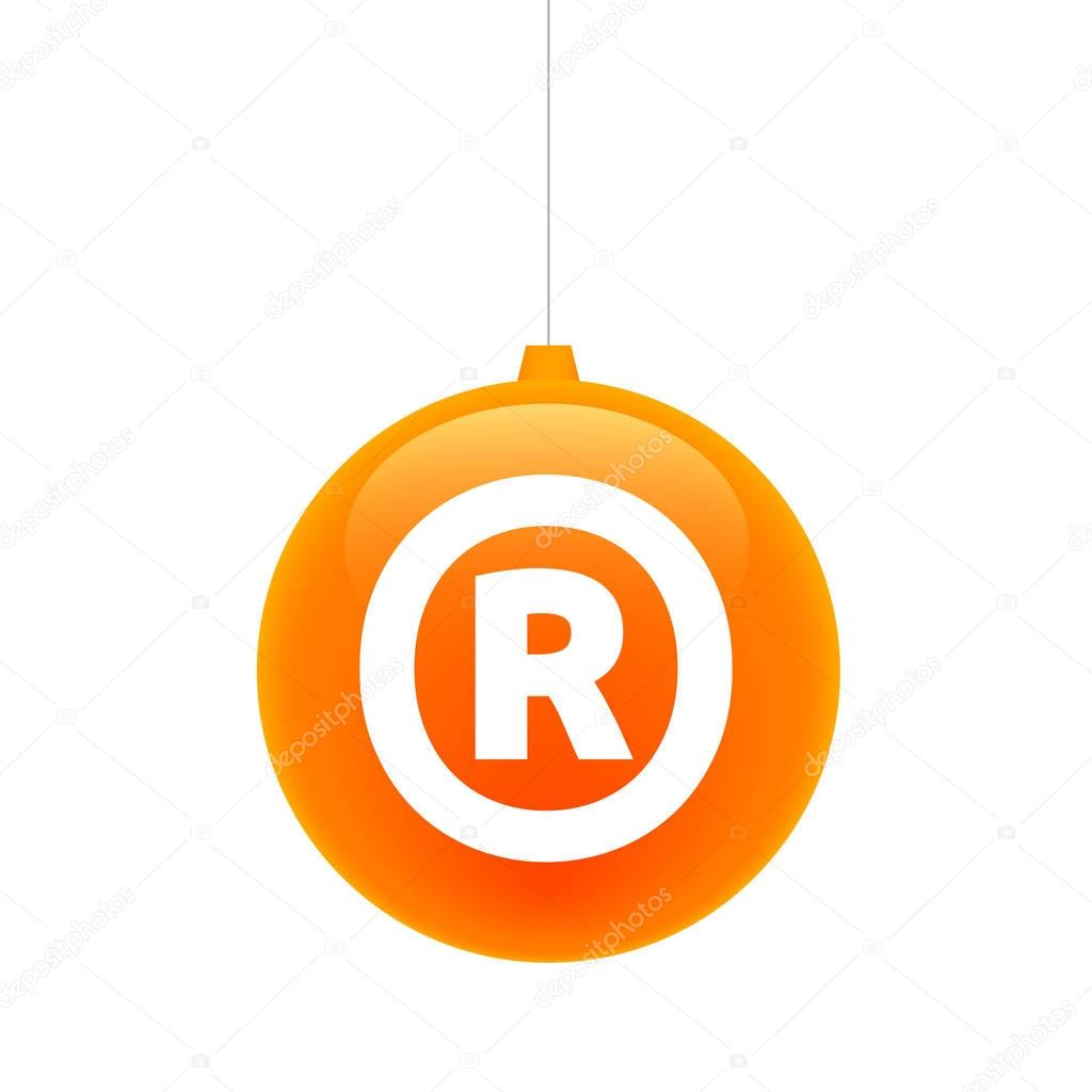 Isolated Christmas Ball With The Registered Trademark Symbol Stock