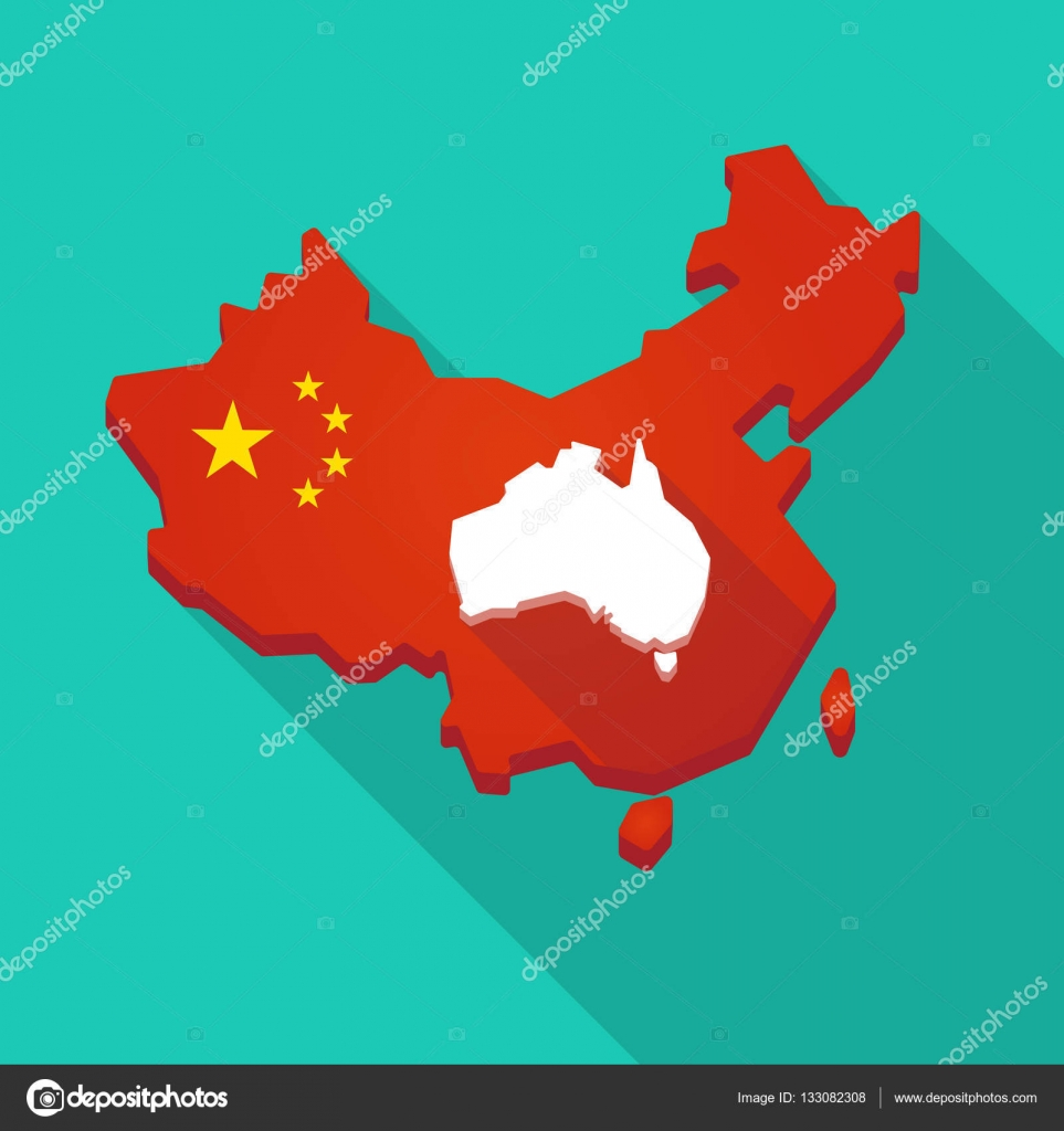 Carte Australie Chine.L Ombre Longue Carte De Chine Avec Une Carte De L Australie Image