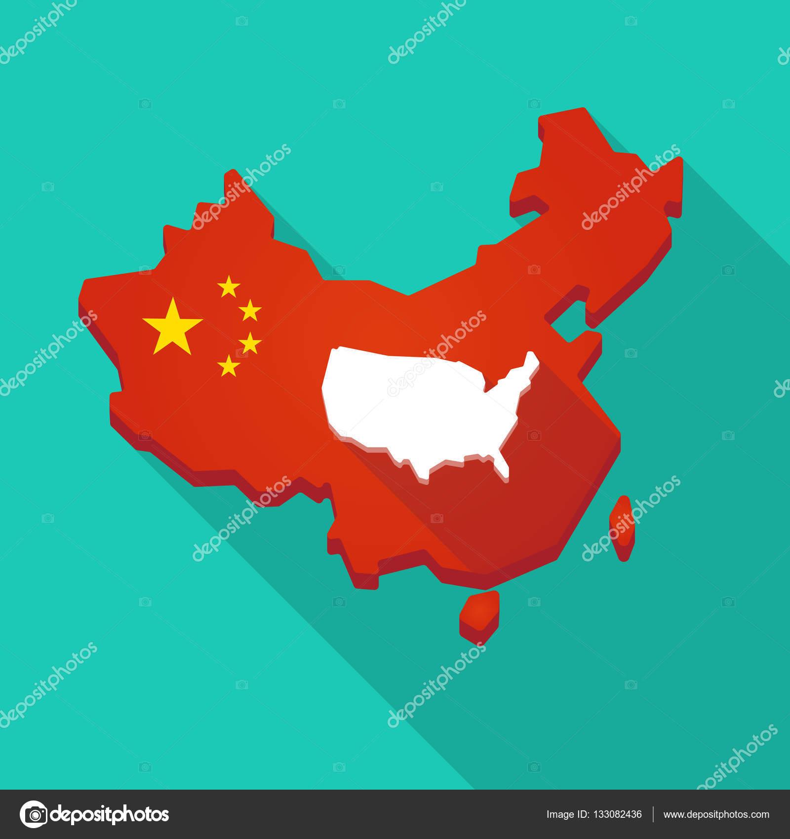 Lange Schatten-China-Map mit einer Karte der Usa — Stockvr ... on