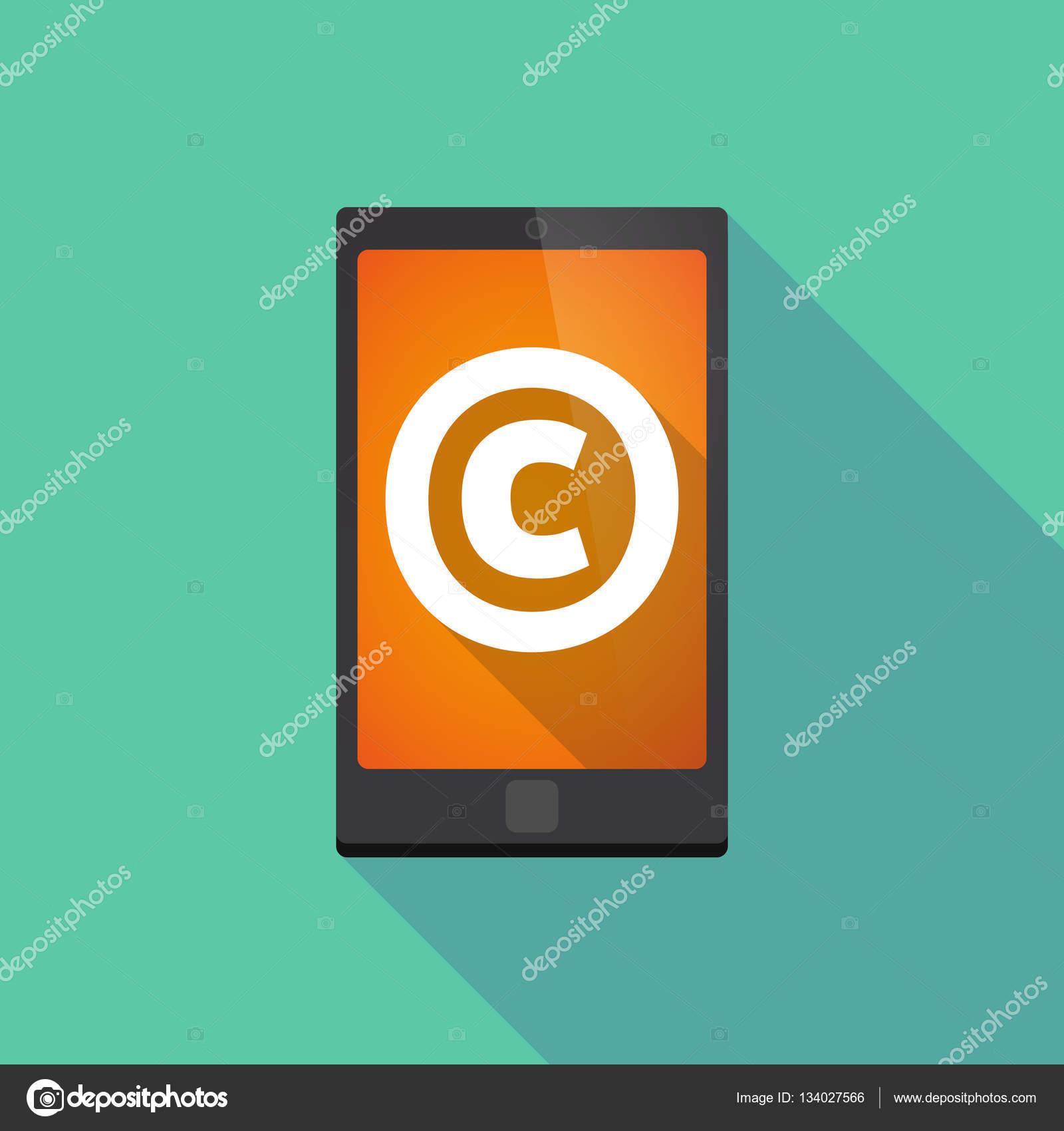 a4513511333df Ilustración de un teléfono inteligente de larga sombra con el signo de  copyright - imágenes  sin copyright — Vector de jpgon — Vector de jpgon