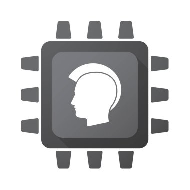 Isolated chip with  a male punk head silhouette