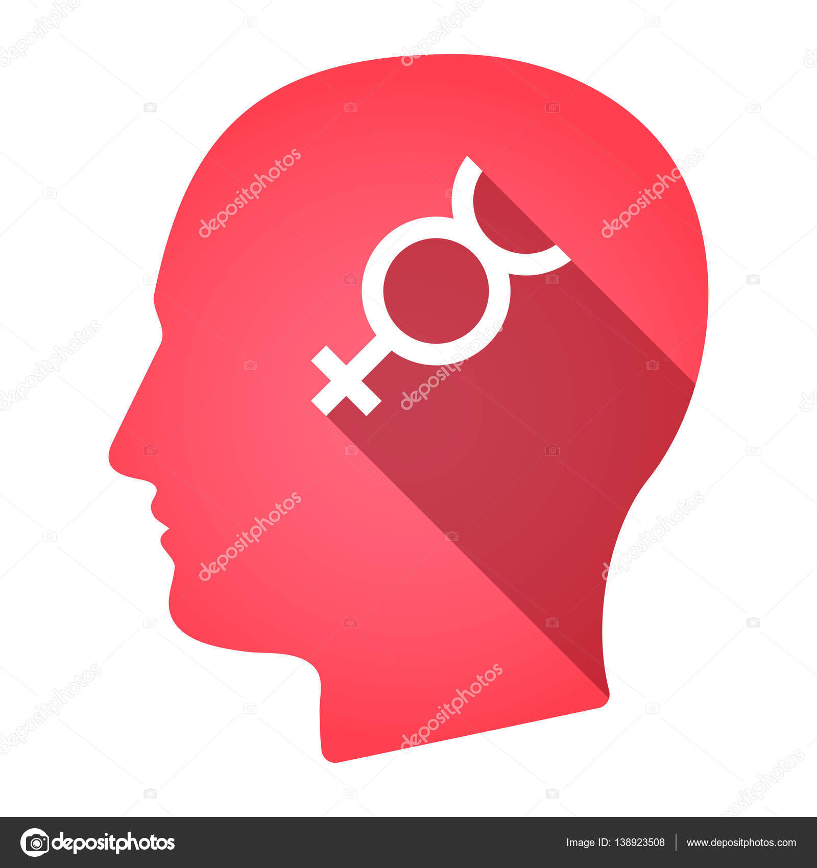 Isolated Male Head With The Mercury Planet Symbol Stock Vector