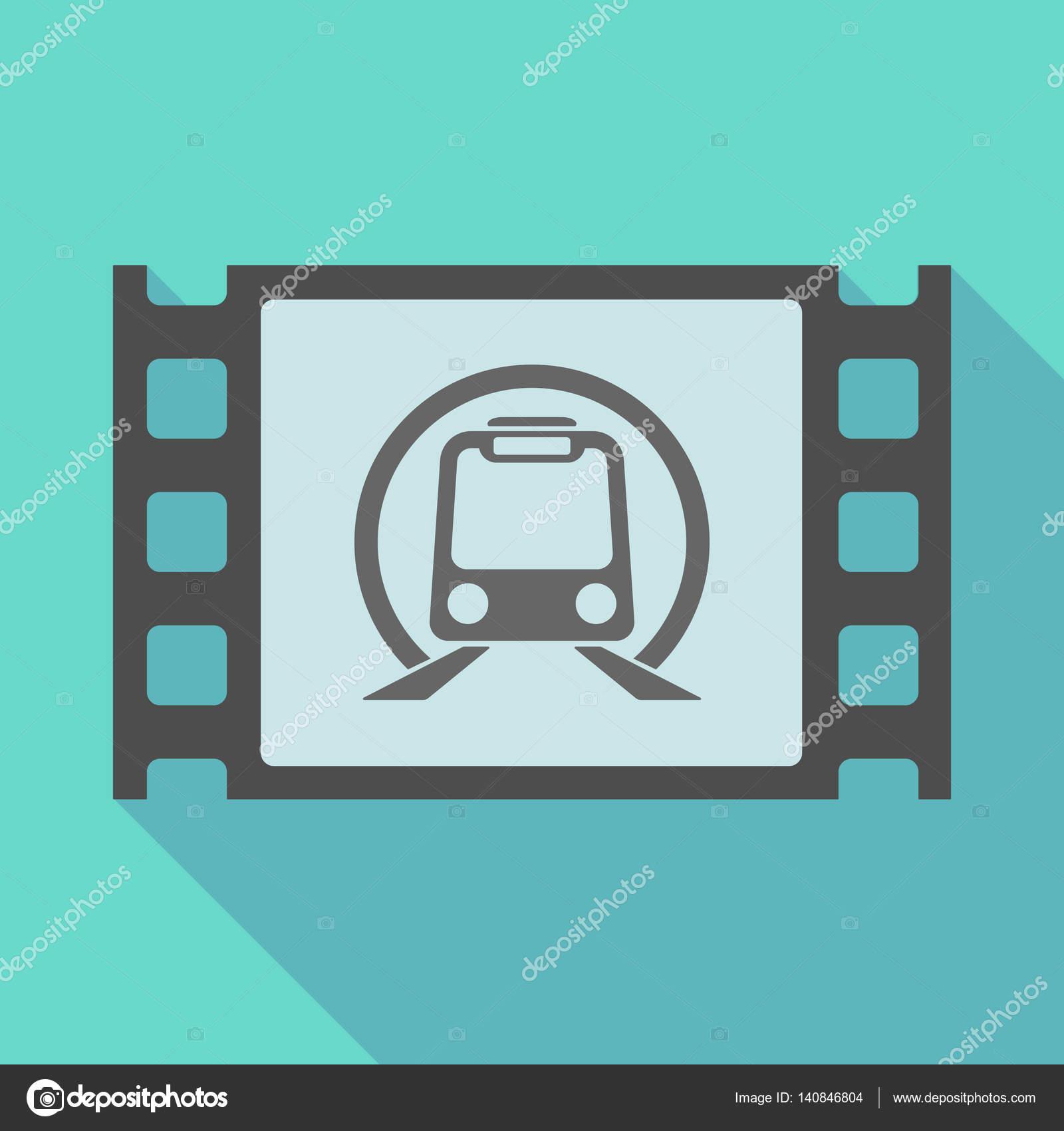 Marco de película de sombra con un metro tren icono — Vector de ...