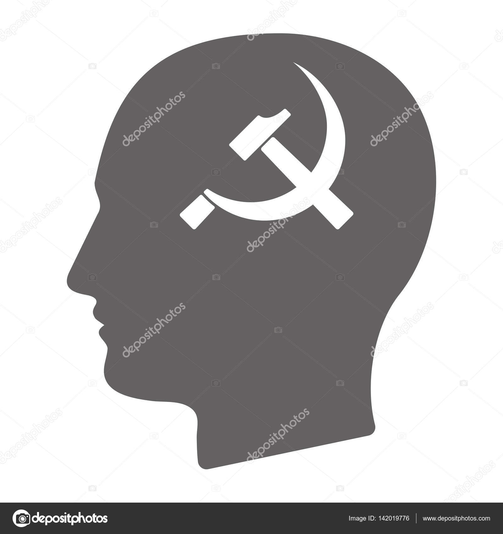 Isolated Male Head With The Communist Symbol Stock Vector Jpgon
