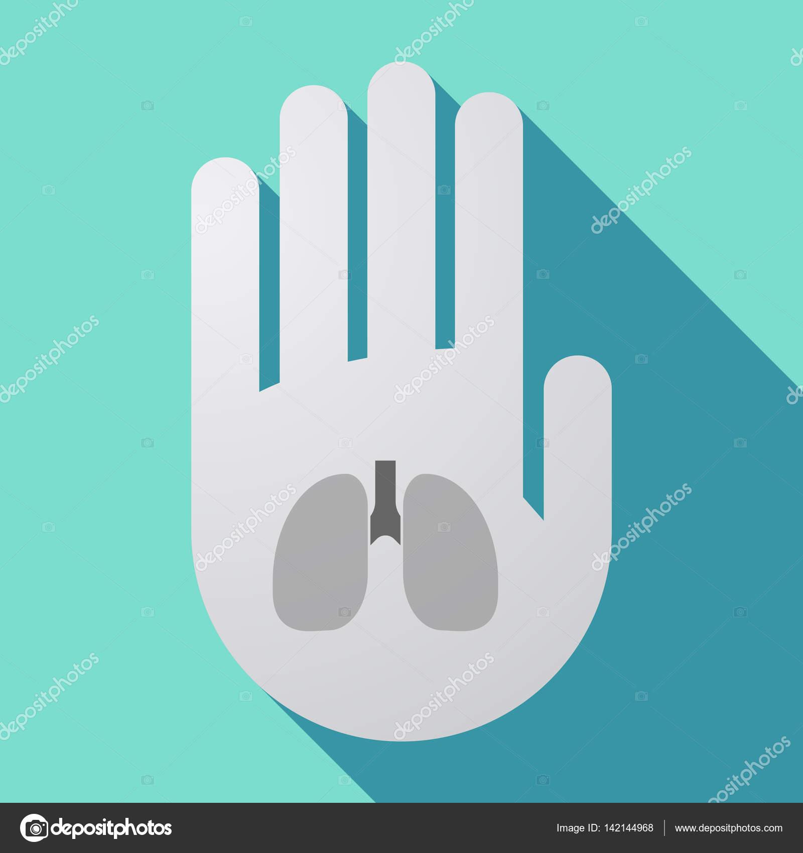 Lange Schatten Hand Mit Einem Gesunden Menschlichen Lunge Symbol