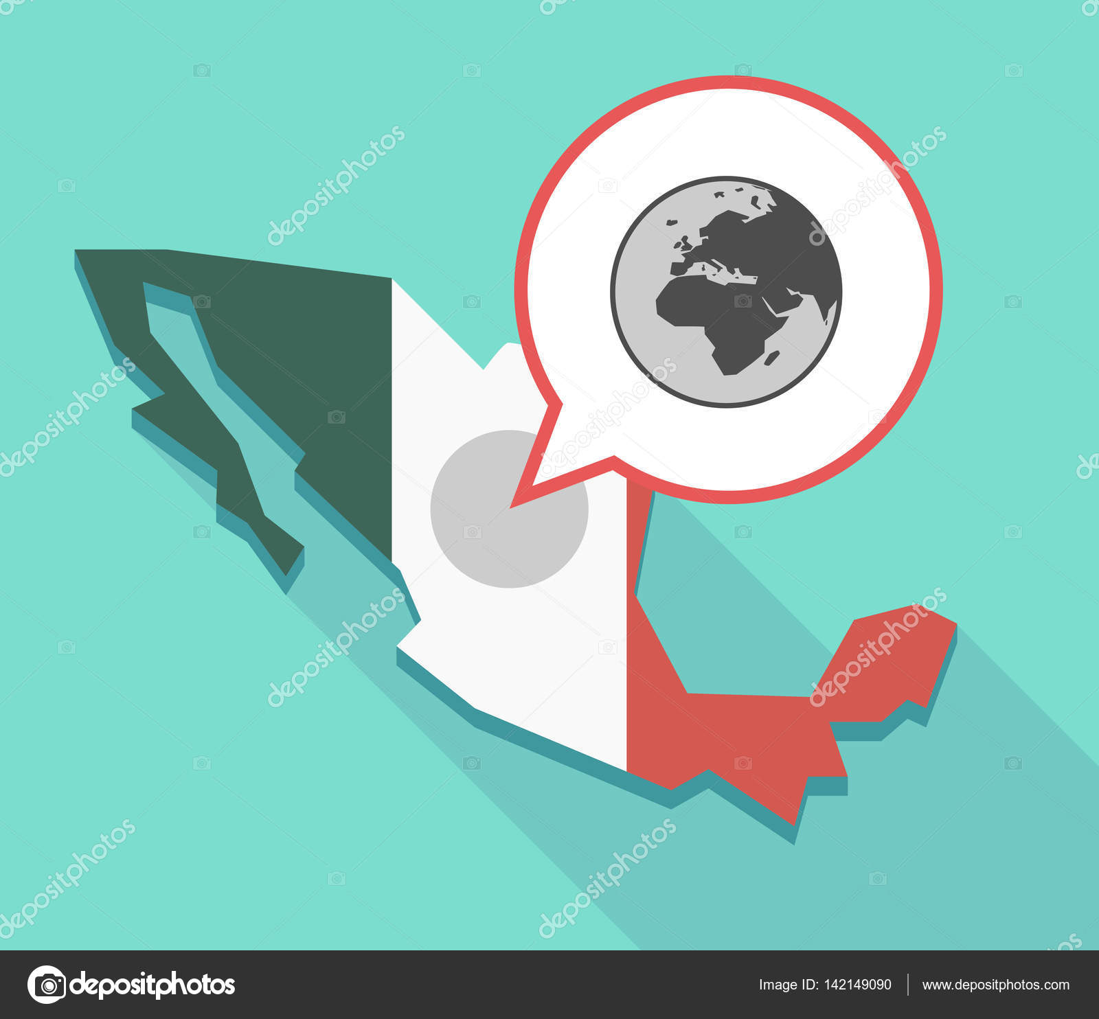 Long shadow mexico map with an asia africa and europe regions illustration of a mexico map and a comic balloon with an asia africa and europe regions world globe vector by jpgon gumiabroncs Images